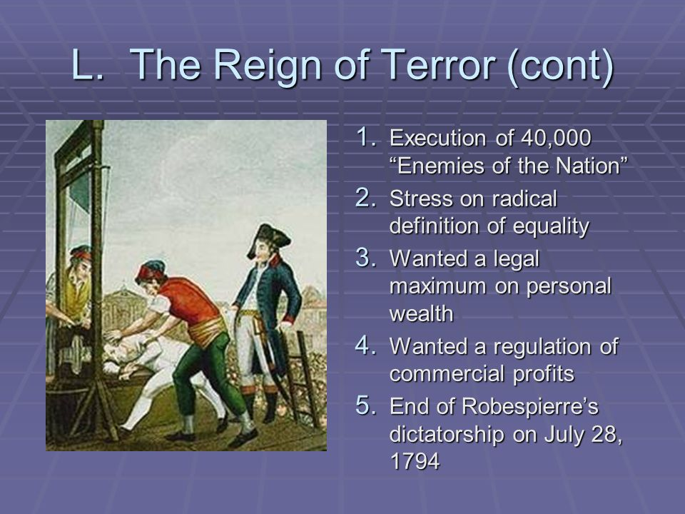 L. The Reign of Terror (cont)