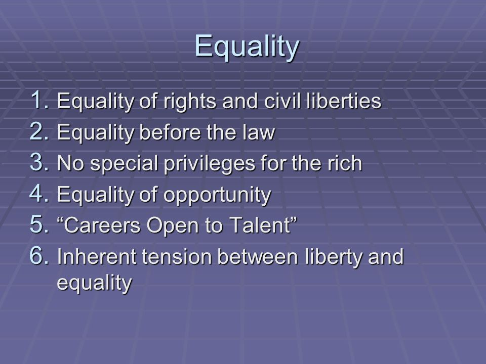 Equality Equality of rights and civil liberties