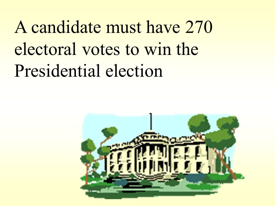 A candidate must have 270 electoral votes to win the Presidential election