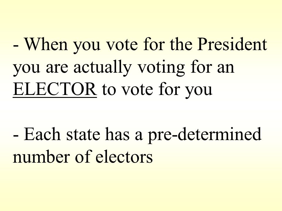 - When you vote for the President you are actually voting for an ELECTOR to vote for you