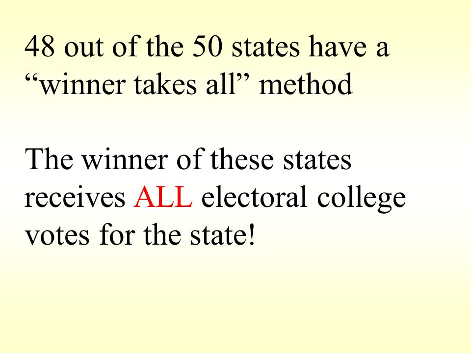 48 out of the 50 states have a winner takes all method
