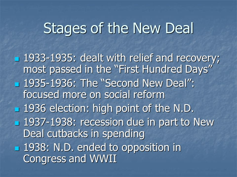 Stages of the New Deal 1933-1935: dealt with relief and recovery; most passed in the First Hundred Days