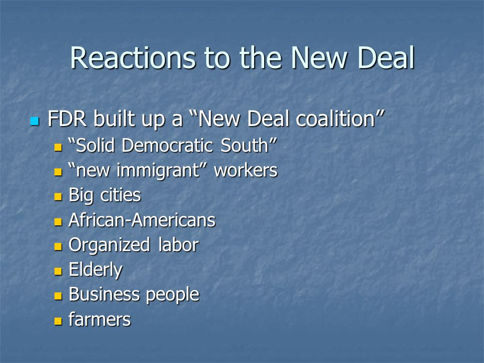 Reactions to the New Deal