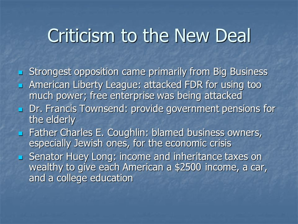 Criticism to the New Deal