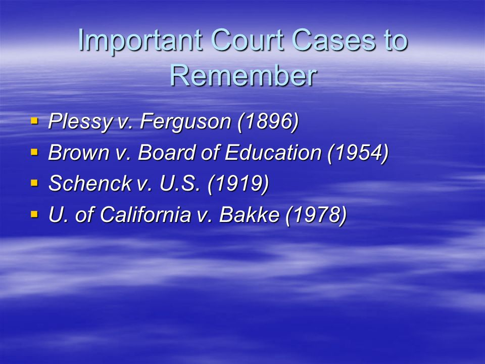 Important Court Cases to Remember