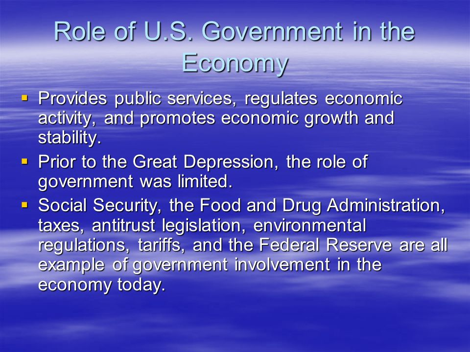 Role of U.S. Government in the Economy