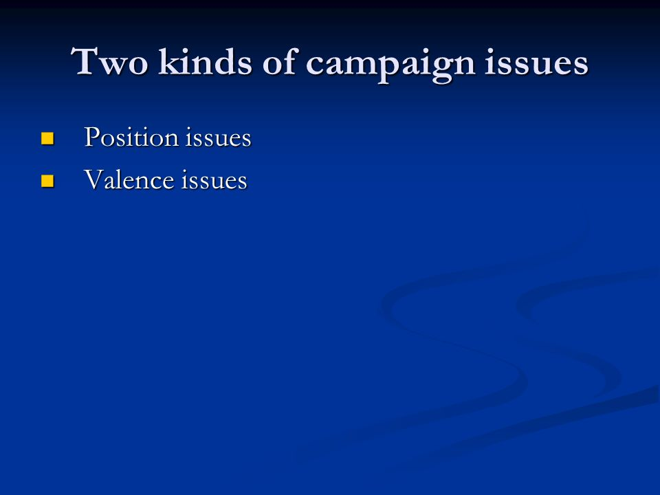 Two kinds of campaign issues