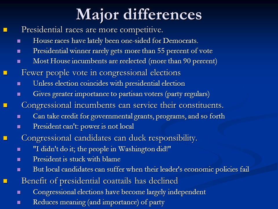 Major differences Presidential races are more competitive.