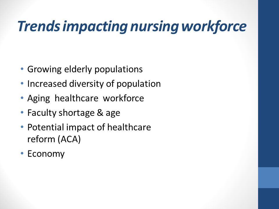 nursing workforce shortage Nursing is at the heart of health care sufficient numbers of nurses at all levels and the ability to forecast and plan for shortages is integral to safe and quality patient care for this reason, ncsbn has acted to ensure that researchers have the data required to monitor future workforce needs in 2017, ncsbn collaborated with the national forum of state nursing workforce centers to conduct.