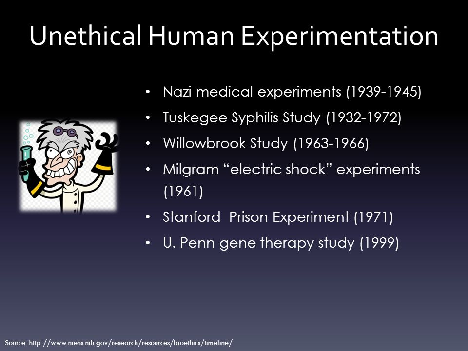 Examples of unethical experiments