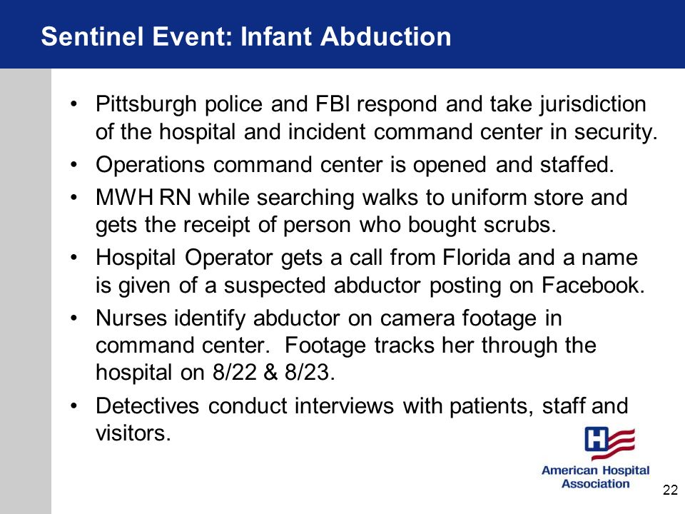 Sentinel Event: Infant Abduction