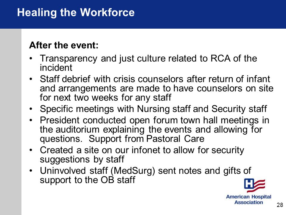 Healing the Workforce After the event: