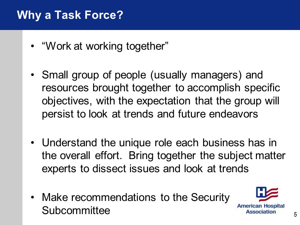 Why a Task Force Work at working together