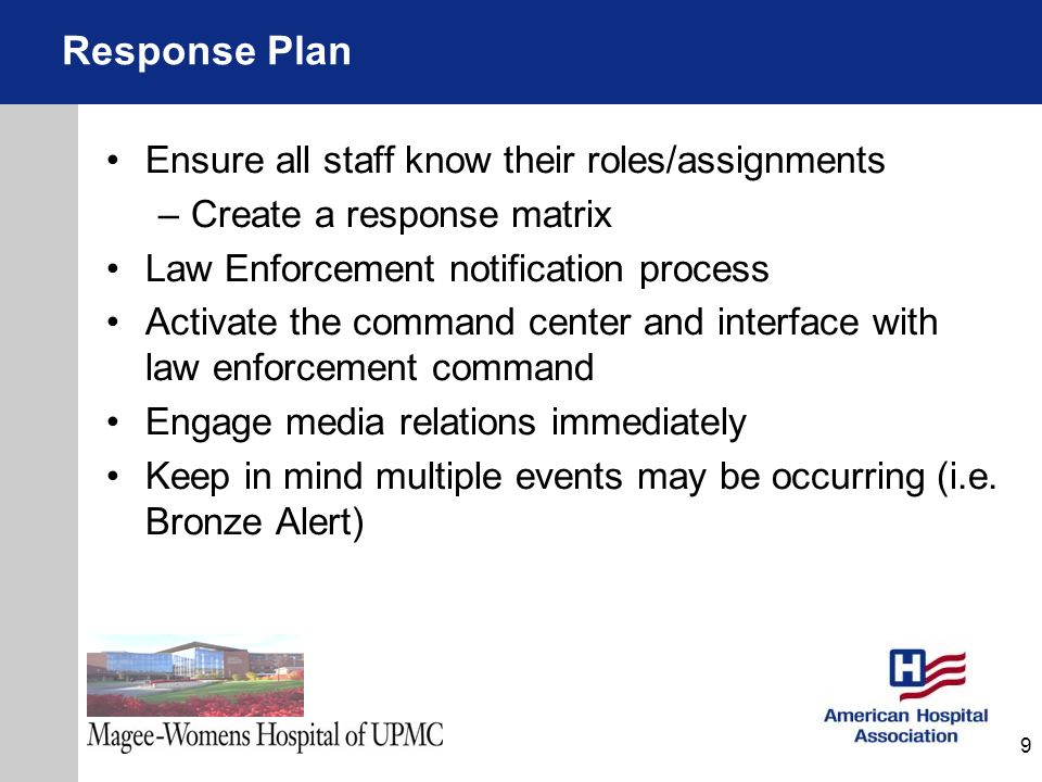 Response Plan Ensure all staff know their roles/assignments