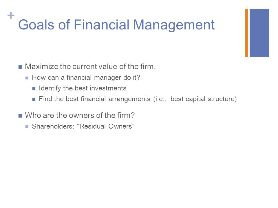 Week 1 Checkpoint Financial Management Goals ACC 250