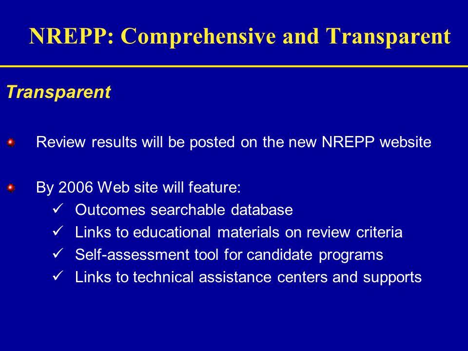 NREPP: Comprehensive and Transparent