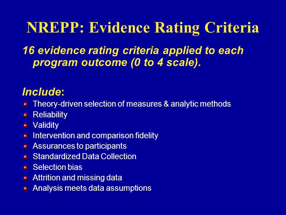NREPP: Evidence Rating Criteria