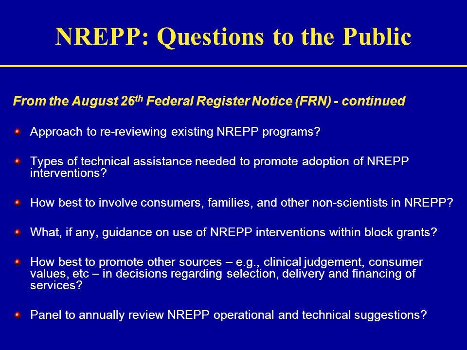 NREPP: Questions to the Public