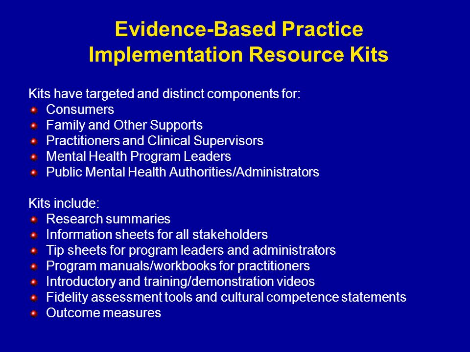 Evidence-Based Practice Implementation Resource Kits