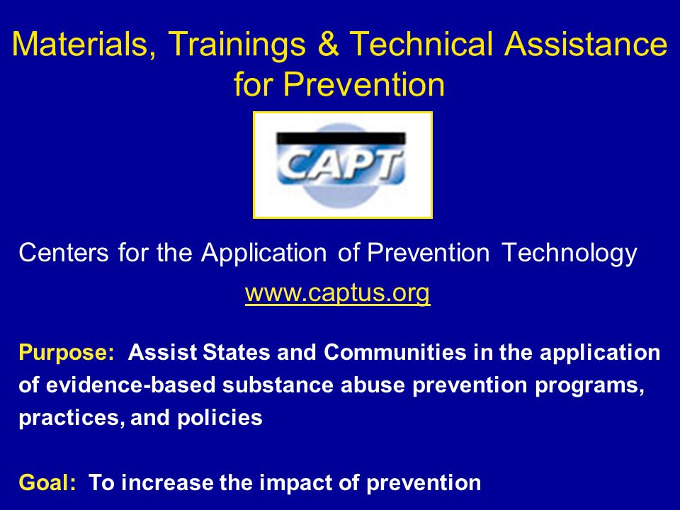 Materials, Trainings & Technical Assistance for Prevention