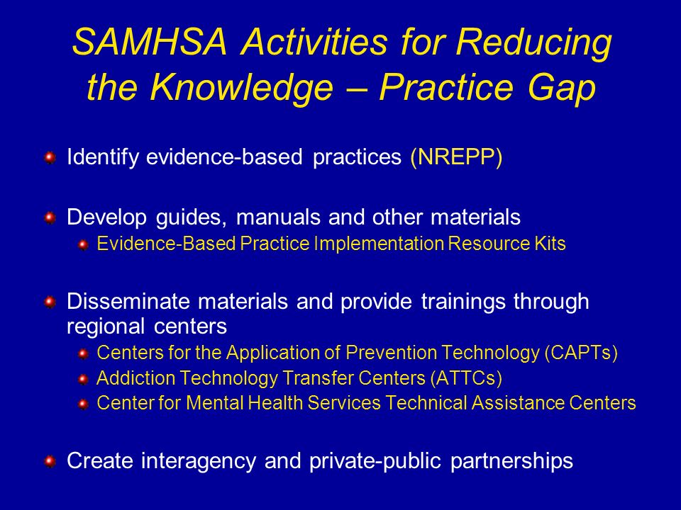 SAMHSA Activities for Reducing the Knowledge – Practice Gap