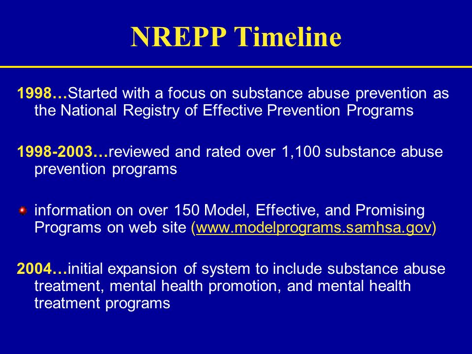 NREPP Timeline 1998…Started with a focus on substance abuse prevention as the National Registry of Effective Prevention Programs.