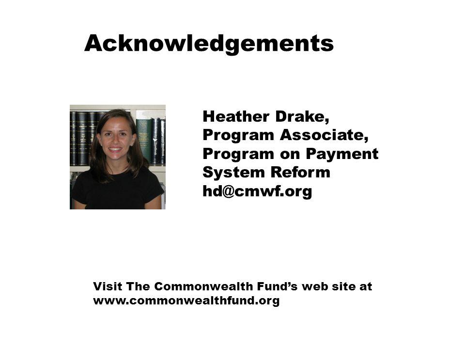 Acknowledgements Heather Drake, Program Associate,