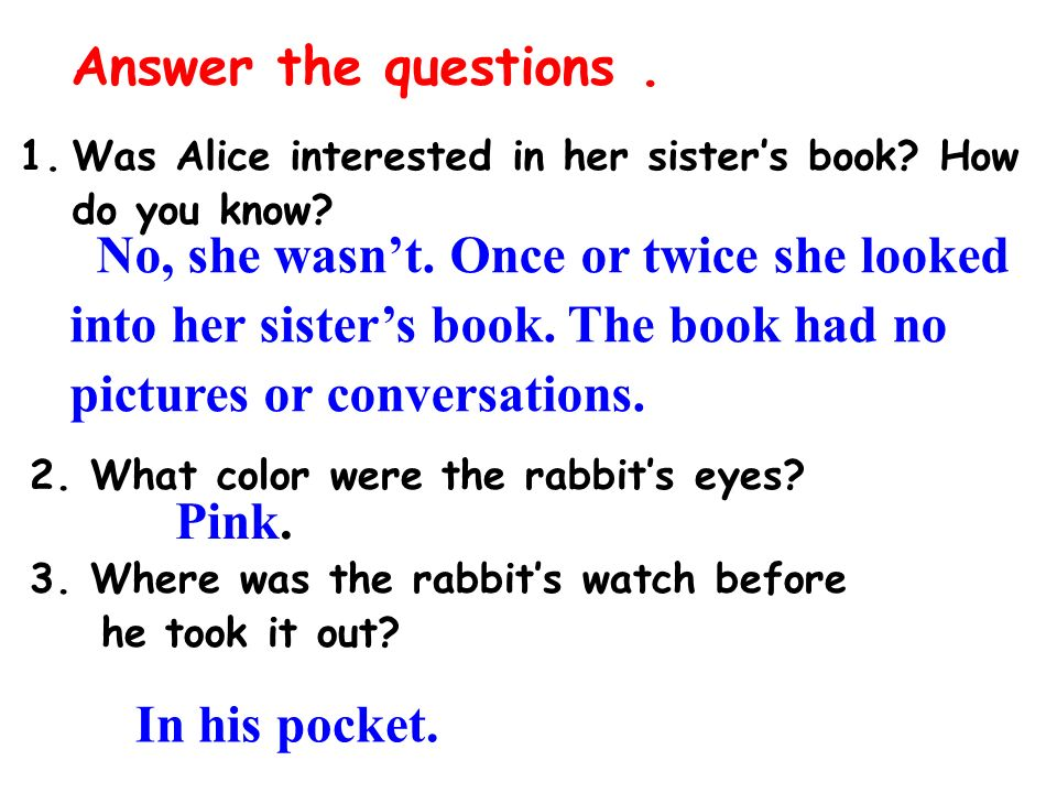 Alice in wonderland book report questions