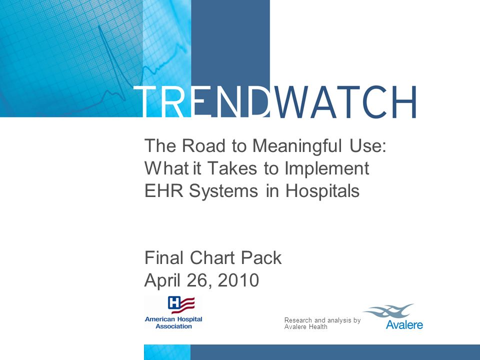 The Road to Meaningful Use: What it Takes to Implement EHR Systems in Hospitals Final Chart Pack April 26, 2010
