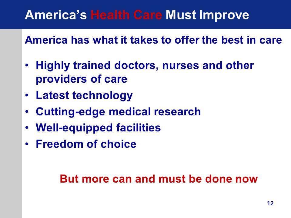 America's Health Care Must Improve