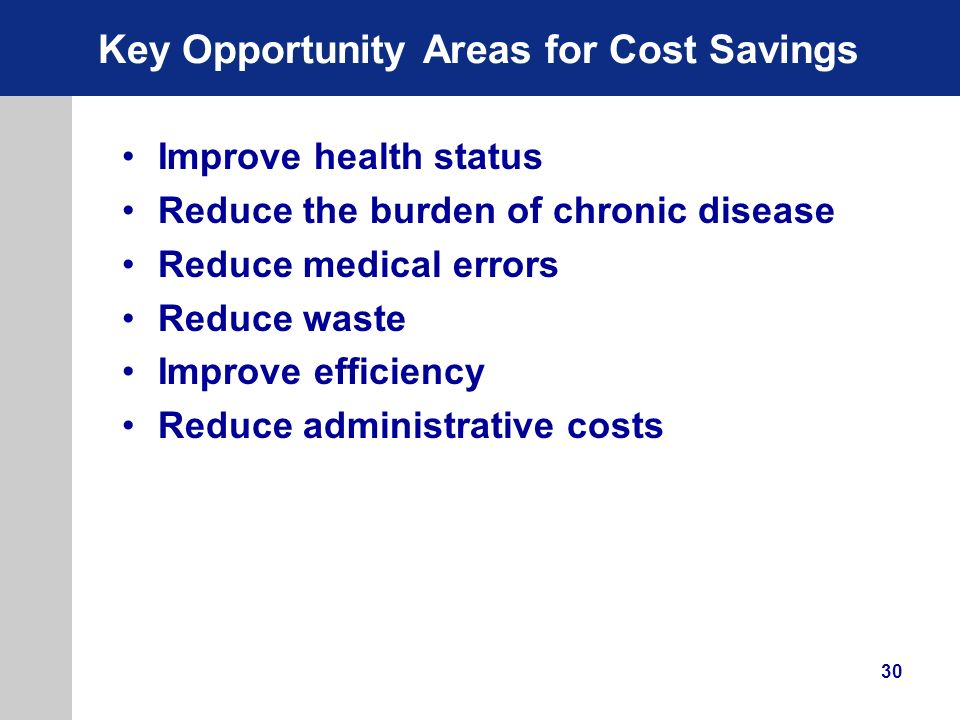 Key Opportunity Areas for Cost Savings
