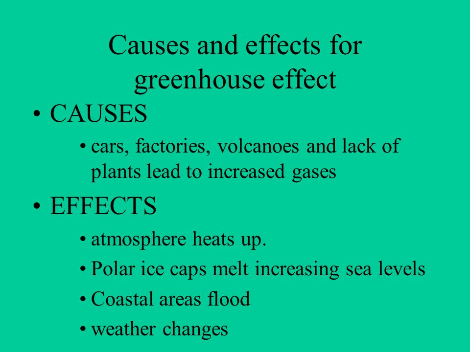 Causes and effects for greenhouse effect
