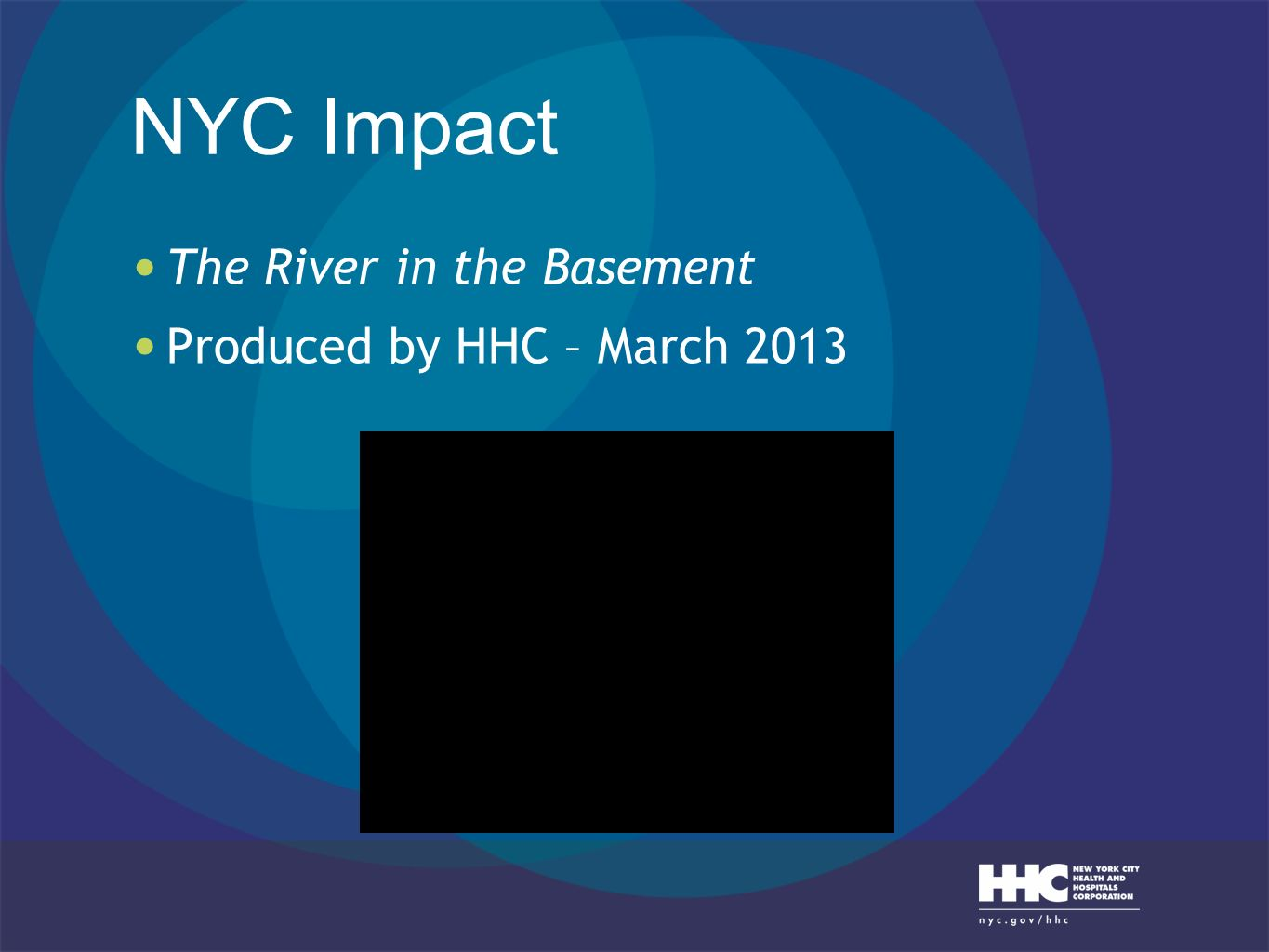 NYC Impact The River in the Basement Produced by HHC – March 2013