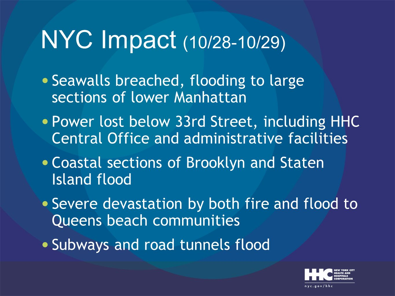 NYC Impact (10/28-10/29) Seawalls breached, flooding to large sections of lower Manhattan.
