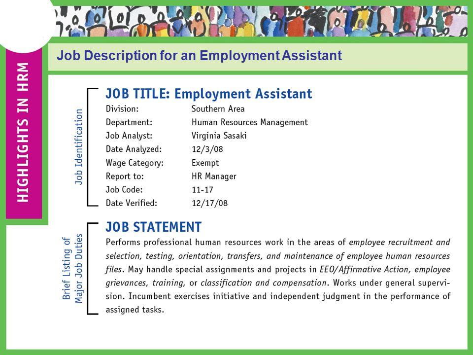 hr job description assignment