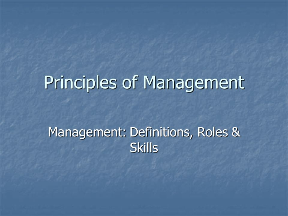 Principles of management ppt
