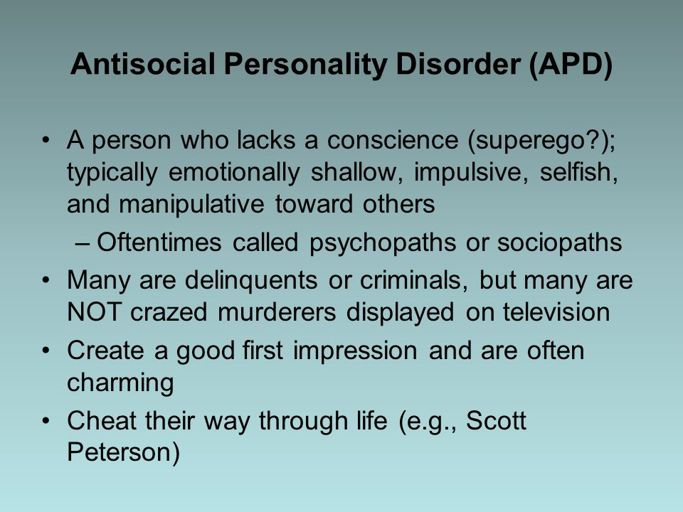 a description of the antisocial personality disorder apd Antisocial personality disorder and borderline personality disorder are two wildly different mental illnesses, but they also share similarities this article discusses those similarities and.