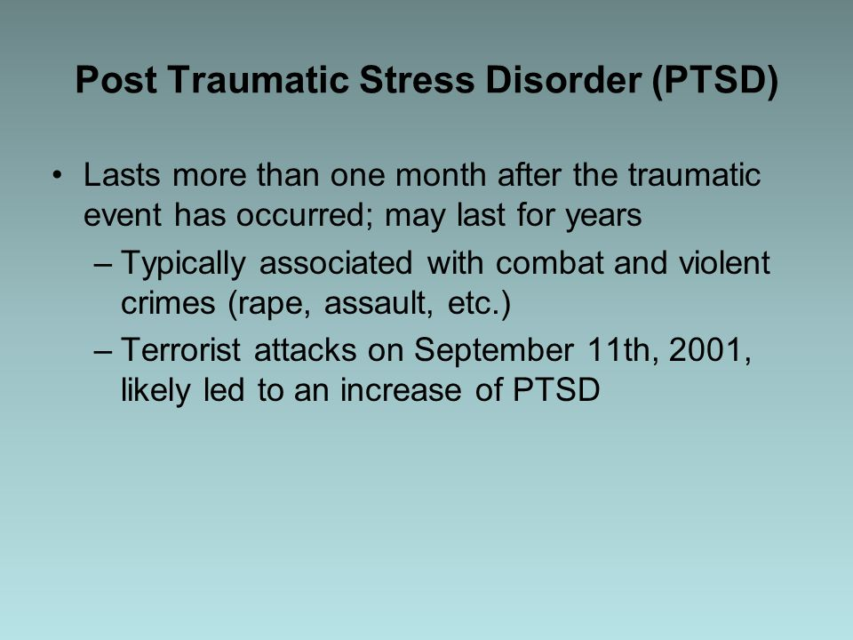 post traumatic stress disorder after relationship