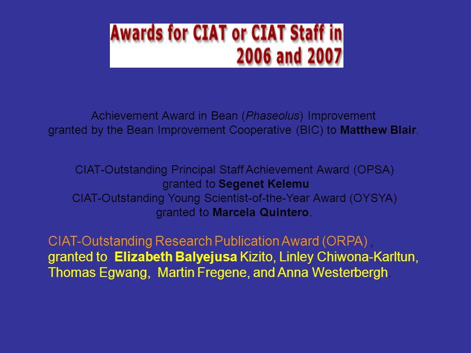 Achievement Award in Bean (Phaseolus) Improvement