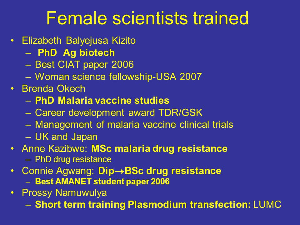 Female scientists trained