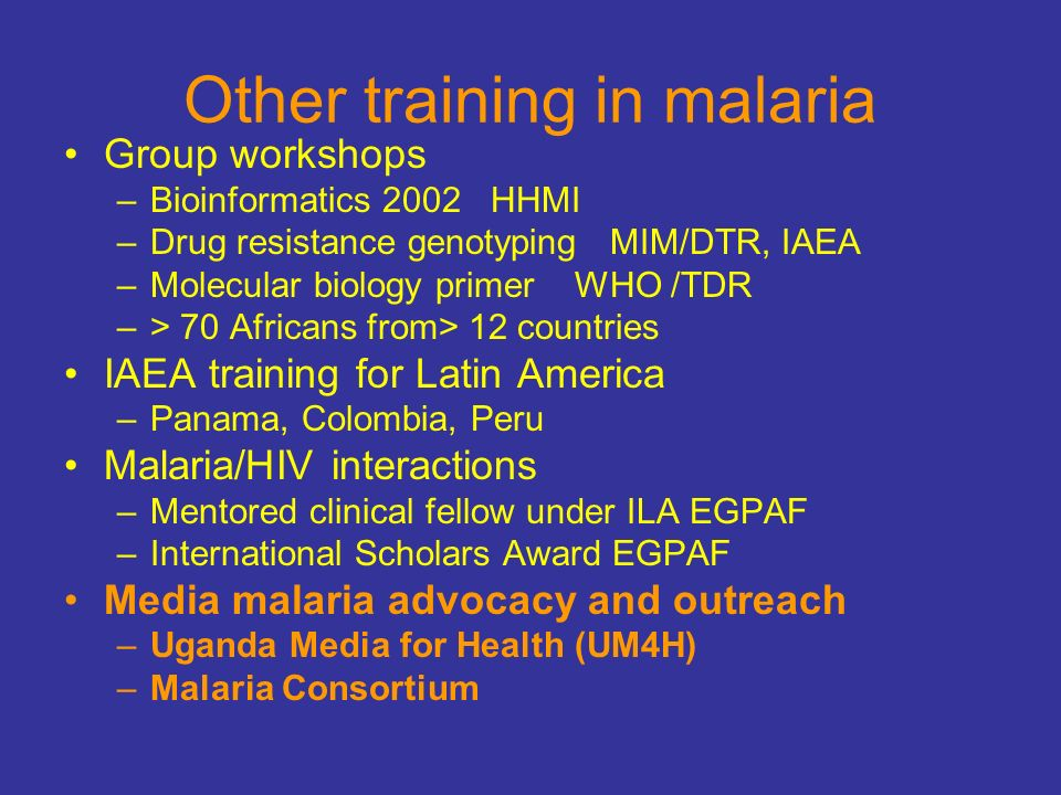 Other training in malaria