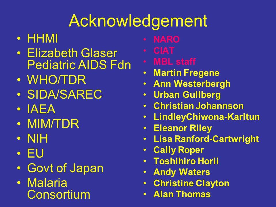 Acknowledgement HHMI Elizabeth Glaser Pediatric AIDS Fdn WHO/TDR
