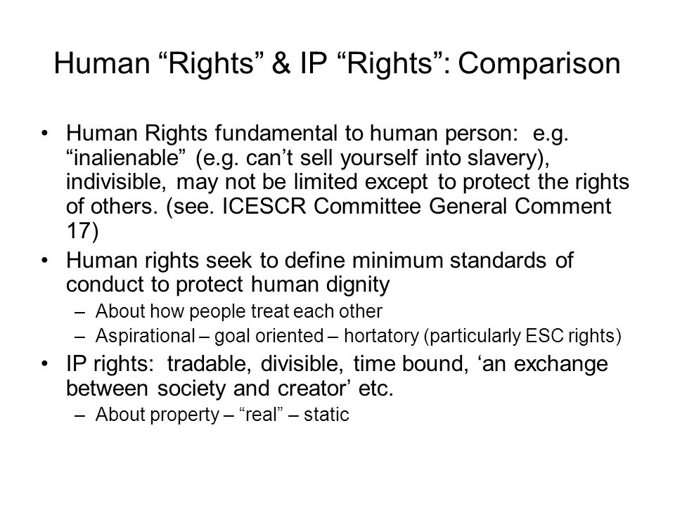 Human Rights & IP Rights : Comparison