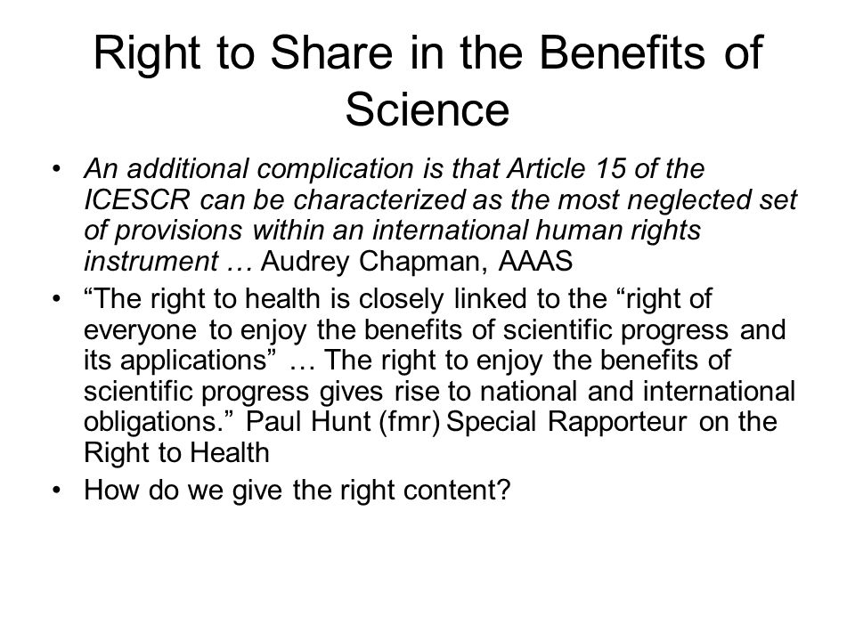 Right to Share in the Benefits of Science
