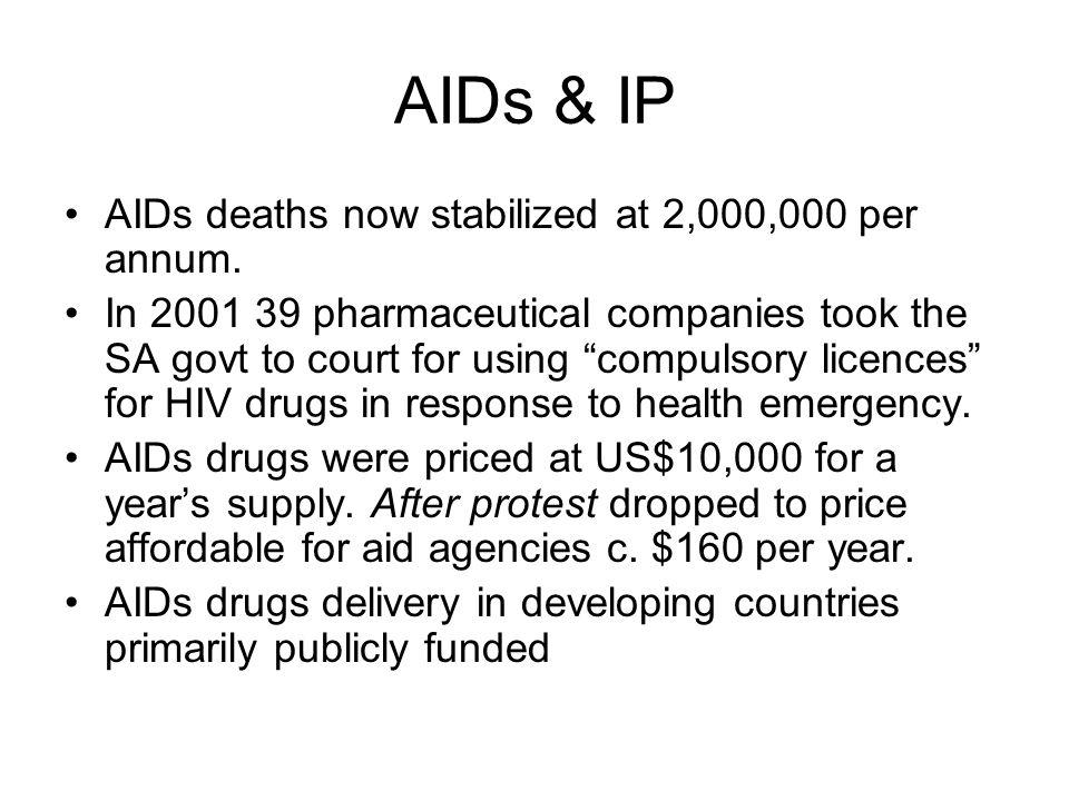 AIDs & IP AIDs deaths now stabilized at 2,000,000 per annum.