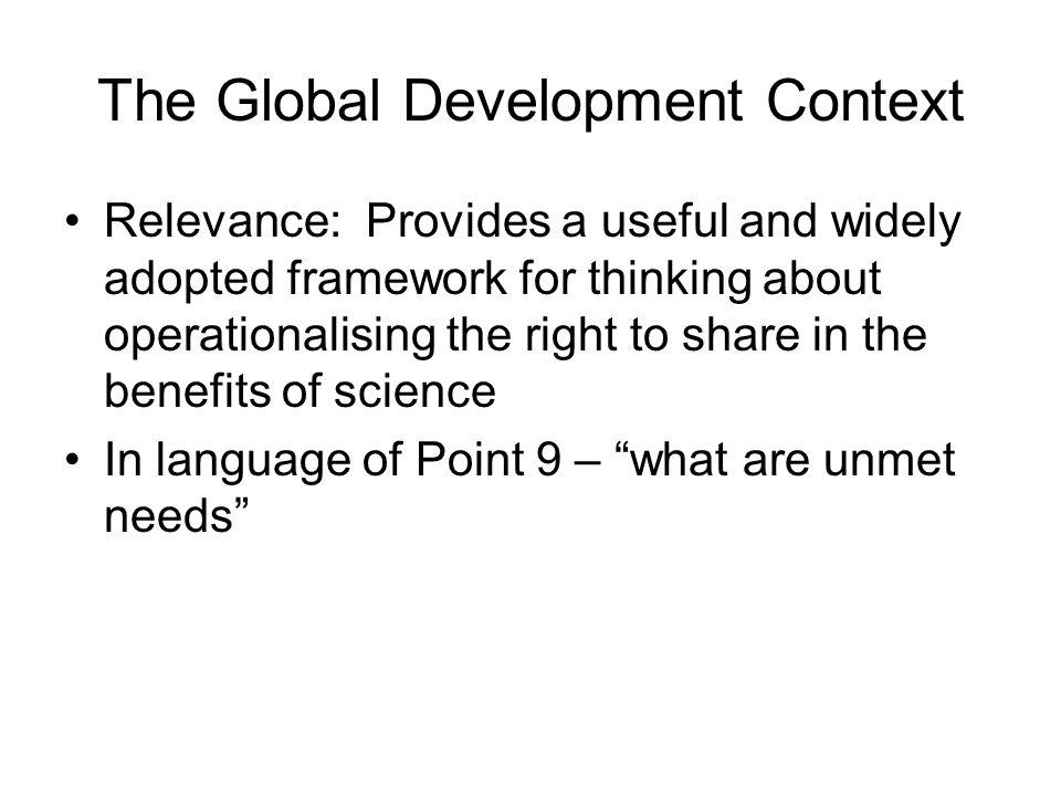 The Global Development Context