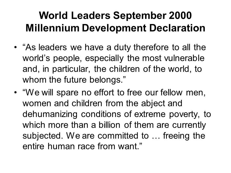 World Leaders September 2000 Millennium Development Declaration