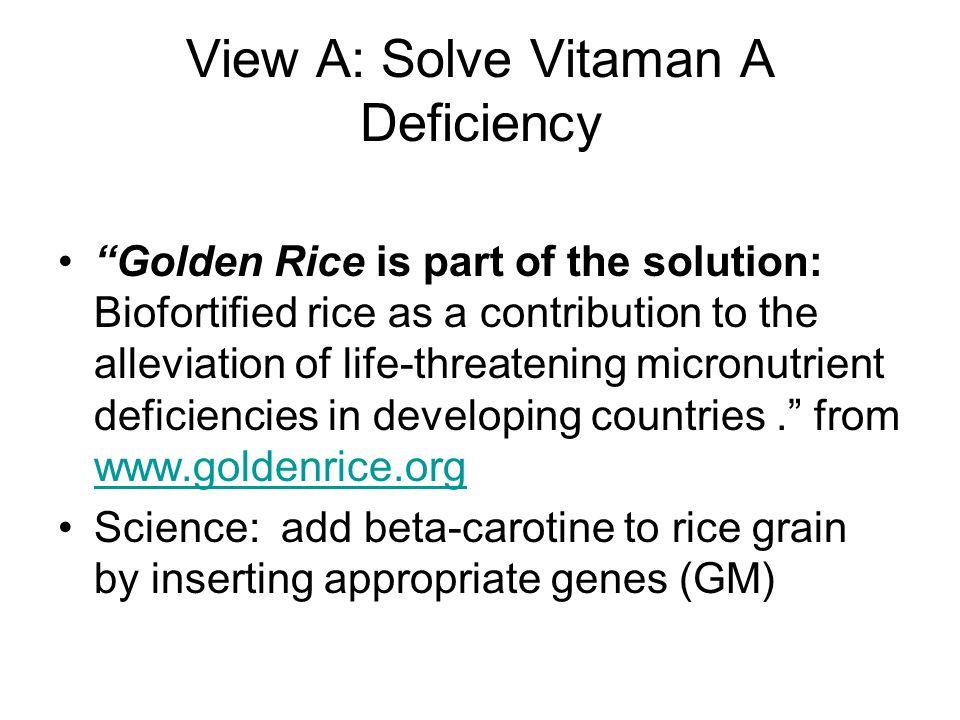 View A: Solve Vitaman A Deficiency