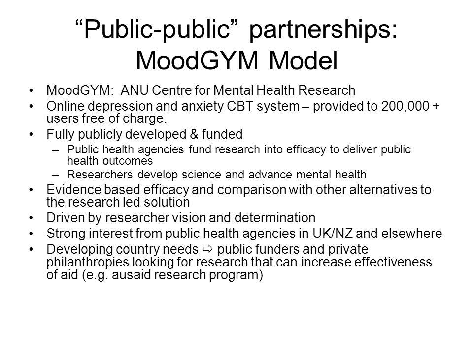 Public-public partnerships: MoodGYM Model
