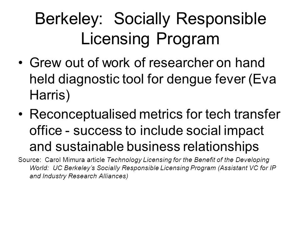 Berkeley: Socially Responsible Licensing Program